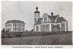 Kościół i plebania w Krzyżkowicach ok. 1935 r.